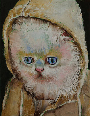 Humorous Cat Painting - Eskimo Kitten by Michael Creese
