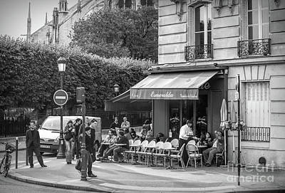 Photograph - Esmeralda Black White Cafe France  by Chuck Kuhn