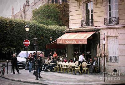 Painting - Esmeralda Corner Cafe Paris  by Chuck Kuhn