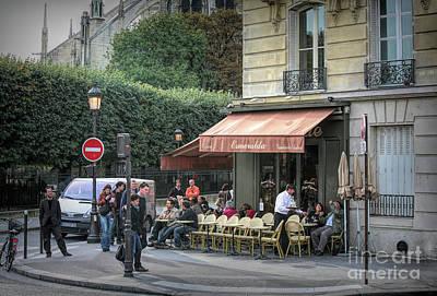 Digital Art - Esmeralda Corner Cafe Paris Paint  by Chuck Kuhn