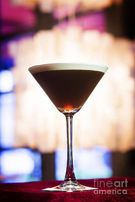 Martini Royalty-Free and Rights-Managed Images - espresso coffee Martini cocktail in trendy bar by Jacek Malipan