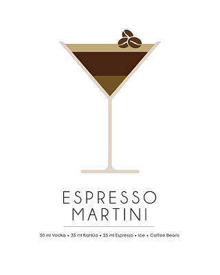 Cocktails Mixed Media - Espresso Martini Classic Cocktail - Minimalist Print by Studio Grafiikka