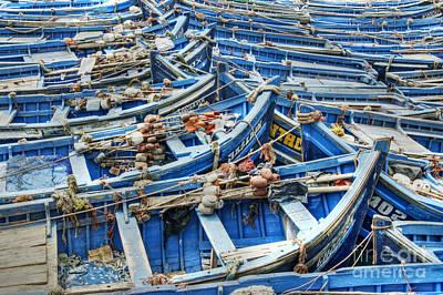 Photograph - Essaouira Blue Fishing Boats by David Birchall