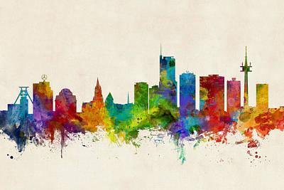 Digital Art - Essen Germany Skyline by Michael Tompsett