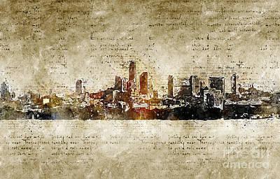 Digital Art - Essen Skyline Abstract An Modern by Michael Kuelbel