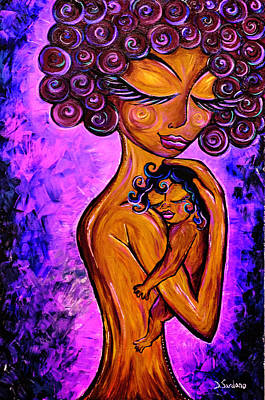 Mother Child Painting - Essence by Dana Sardano