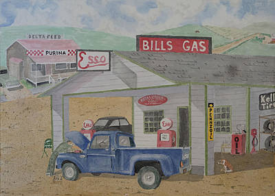 Esso Oil Painting - Esso Station On The Edge Of Town by Gary Thomas
