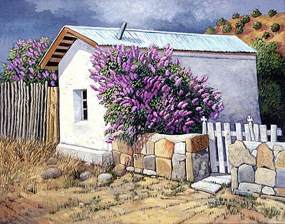 Adobe House Painting - Estaca In Bloom by Donna Clair