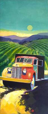 Dusk Painting - Estate Vineyards - II by Ken Campbell