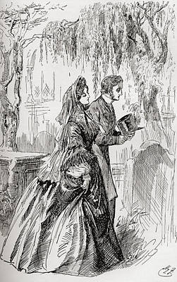 Great Expectations Drawing - Estella And Pip. I Saw No Shadow by Vintage Design Pics