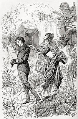 Great Expectations Drawing - Estella And Pip In Miss Havishams by Vintage Design Pics