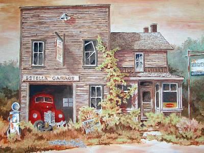 Painting - Estella Garage by Tony Caviston