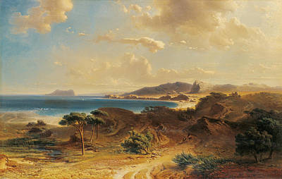 Painting - Estepona Beach With The View Of The Rock Of Gibraltar by Fritz Bamberger