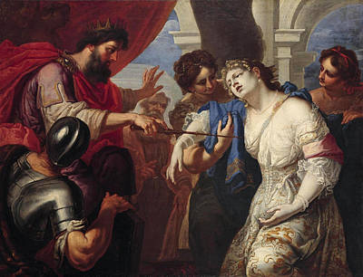 Esther Painting - Esther Before Ahasuerus by Antonio Molinari and Workshop