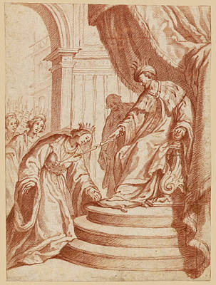 Esther Drawing - Esther Before Ahasuerus by Matteo Rosselli