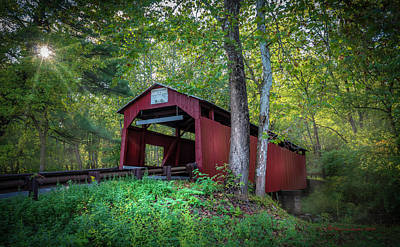 Covered Bridge Photograph - Esther Furnace Bridge by Marvin Spates
