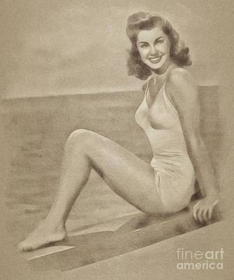 Musicians Drawings - Esther Williams, Vintage Actress and Pinup by John Springfield by John Springfield