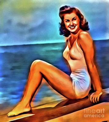 Singer Digital Art - Esther Williams, Vintage Actress. Digital Art By Mb by Mary Bassett