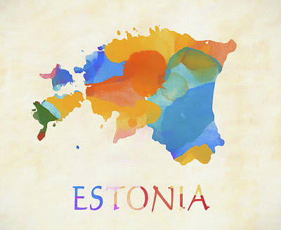 Painting - Estonia Watercolor Map by Dan Sproul