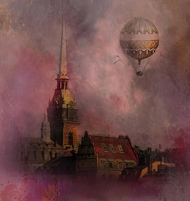 Digital Art - Stockholm Church With Flying Balloon by Jeff Burgess