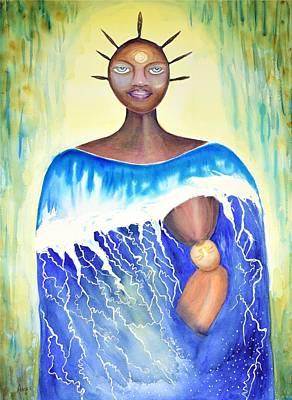 Yemaya Painting - Estuary / Yemaya Asesu by Anoa Kanu