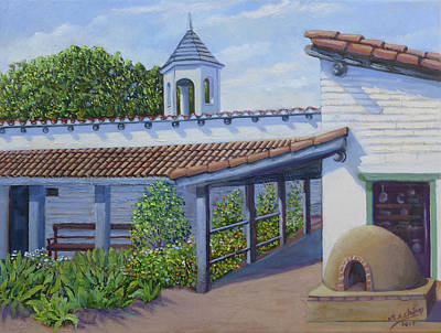 Painting - Estudillo House Patio by Miguel A Chavez