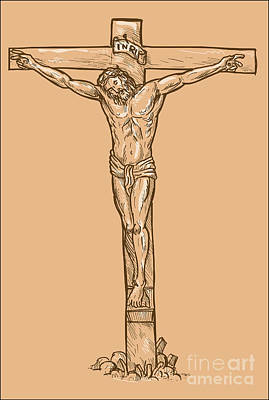 Religious Drawings Digital Art - esus Christ hanging on the cross by Aloysius Patrimonio
