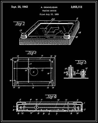 Etch-a-sketch Patent - Black Art Print by Finlay McNevin