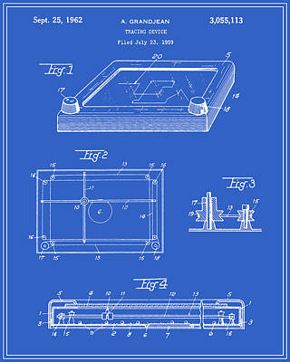 Etch-a-sketch Patent - Blueprint Art Print by Finlay McNevin