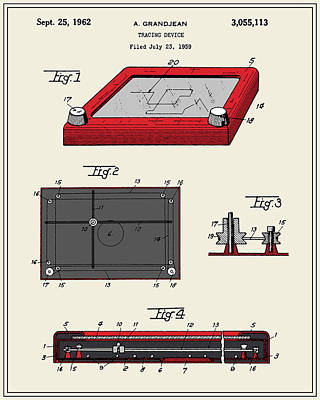 Etch-a-sketch Patent Art Print by Finlay McNevin