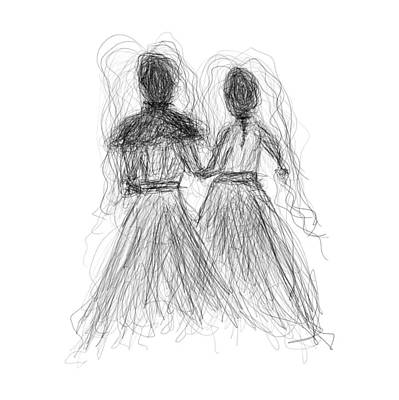 Drawing - Etching 09 - Two Brides by Bill Owen