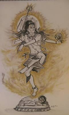 Charcoal Drawing - Eternal Cosmic Dance by Sunil Gowthem