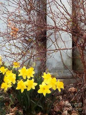 Eternal Faith - Daffodils Flowers In Churchyard Cemetery  Art Print by Janine Riley