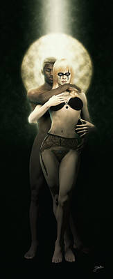 Interracial Nude Digital Art - Eternal Gothic Love by Joaquin Abella