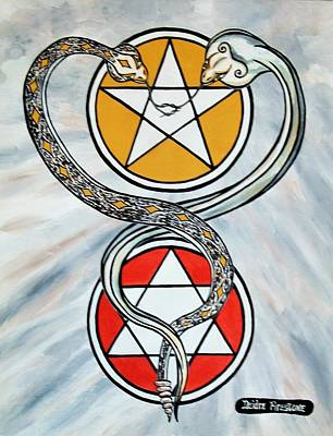 Pentagram Art Painting - Eternal Soul Mates by Deidre Firestone
