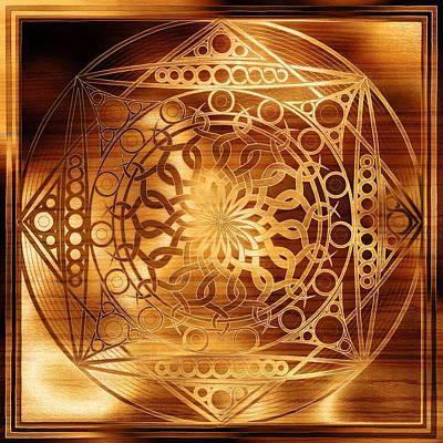Symbolic Patterns Digital Art - Eternity Mandala Golden Zebrawood by Hakon Soreide