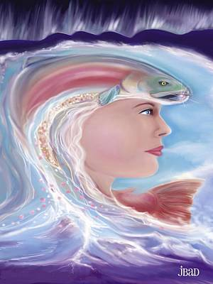 Salmon Painting - Ether Messenger by Julie Bourbeau