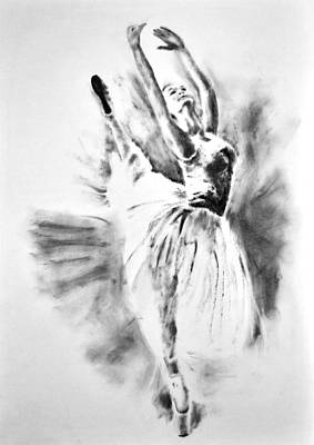 Ethereal Black And White Ballerina Poster 1  - By Diana Van Art Print