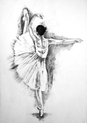 Ethereal Black And White Ballerina Poster 6  - By Diana Van Original