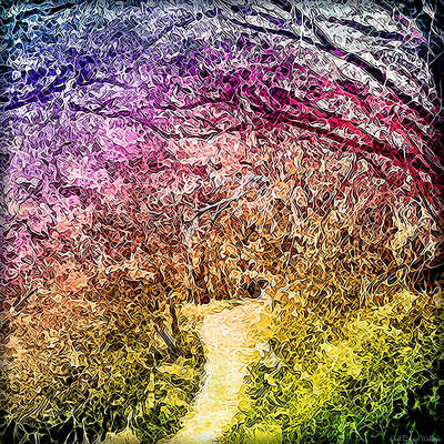 Art Print featuring the digital art Ethereal Garden Pathway - Trail In Santa Monica Mountains by Joel Bruce Wallach