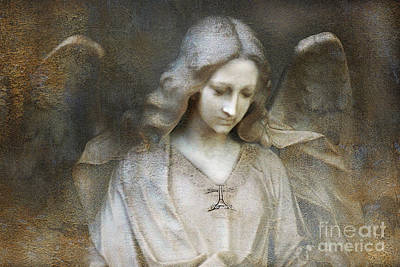 Digital Art - Ethereal Spiritual Stone Textured Angel In Prayer by Kathy Fornal