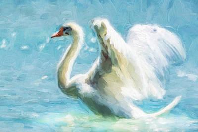 Mixed Media - Ethereal Swan by Georgiana Romanovna