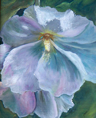 Painting - Ethereal White Hollyhock by Nila Jane Autry