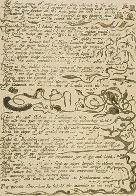 Poem Drawing - Ethinthus Queen Of Waters by William Blake