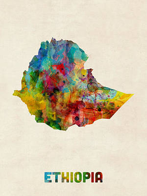 Map Of Africa Digital Art - Ethiopia Watercolor Map by Michael Tompsett