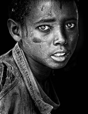 Poor Photograph - Ethiopian Eyes Bw by Husain Alfraid