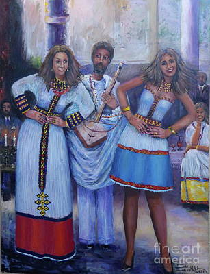 Painting - Ethiopian Ladies Shoulder Dancing by Samuel Daffa