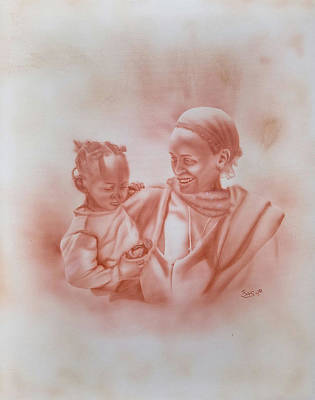 Painting - Ethiopian Mother And Child In Awassa by Bas Hollander
