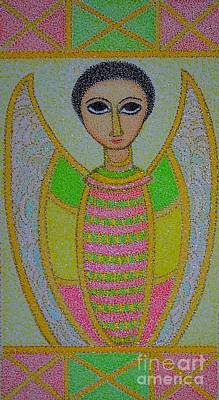 Painting - Ethiopian  Orthodox Angel by Assumpta Tafari Tafrow Neo-Impressionist Works on Paper
