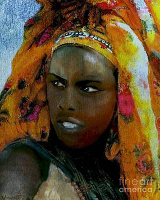 Mixed Media - Ethiopian Turban Beauty by Vannetta Ferguson